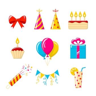 Geburtstagsfeier. reihe von farbigen icons