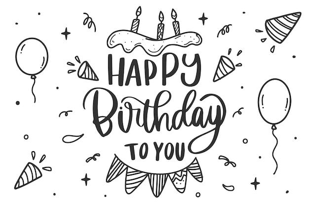 Geburtstagsfeier schriftzug kuchen und luftballons
