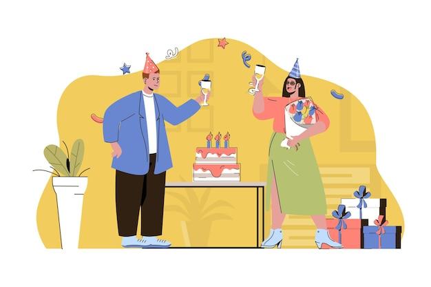 Geburtstagsfeier-webkonzeptillustration mit flachem leutecharakter