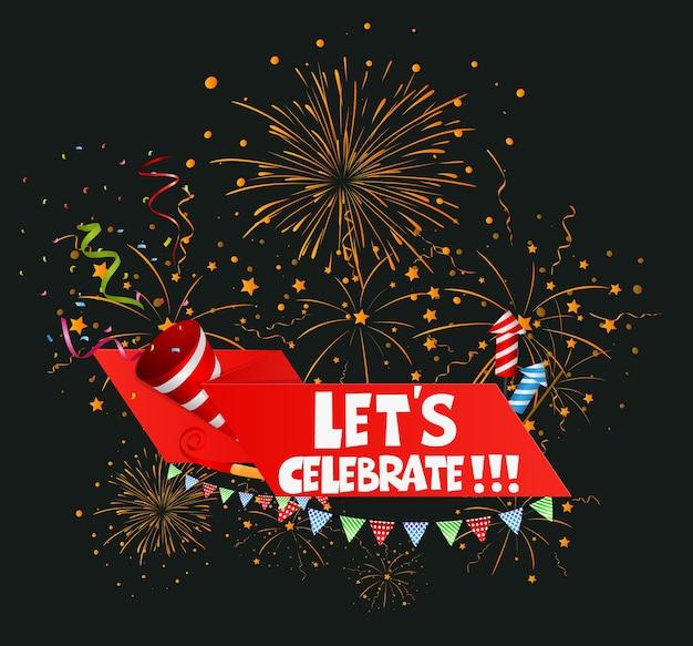 Geburtstagsfeierhintergrund mit band und konfettis