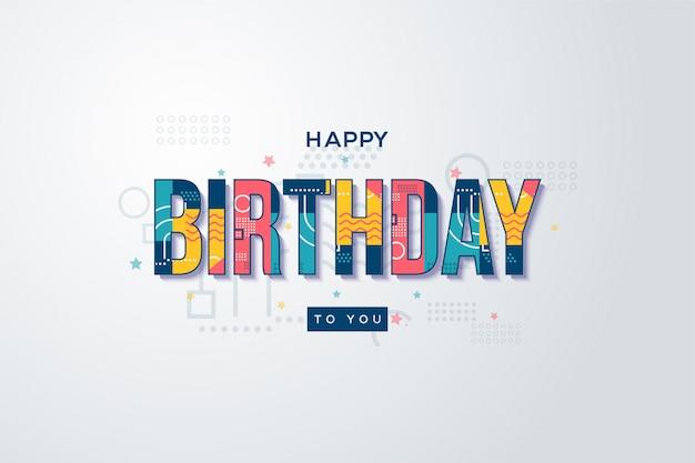 Geburtstagsfeierhintergrund mit buntem text auf weißem hintergrund.
