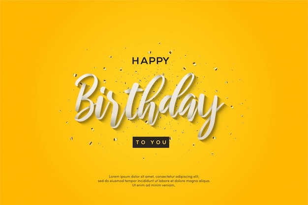 Geburtstagsfeierhintergrund mit text auf gelbem hintergrund.