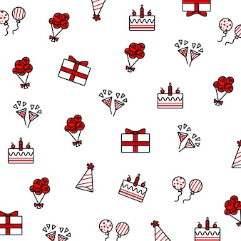 Geburtstagsgekritzelelement stellte einschließlich geburtstagskuchen, ballon, parteihut, partei popper, bou ein