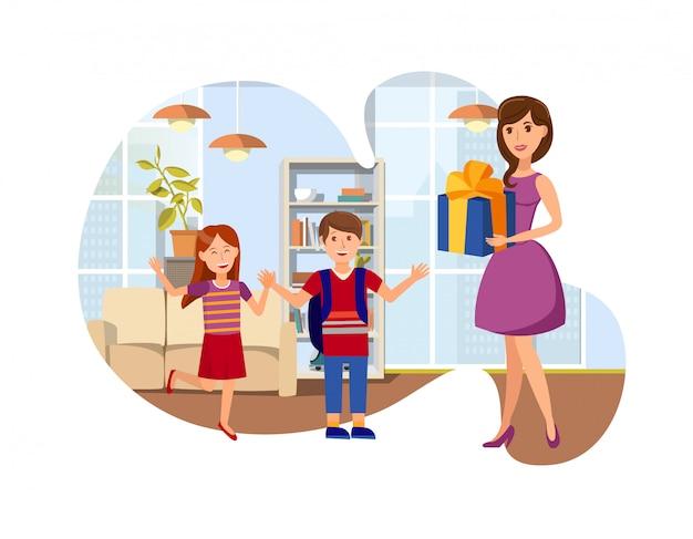 Geburtstagsgeschenk für kinderkarikatur-illustration