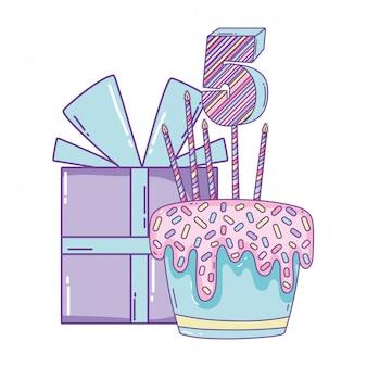 Geburtstagsgeschenkkasten und -kuchen mit zahl
