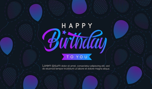 Geburtstagsgradientenbuchstabe mit ballonhintergrund