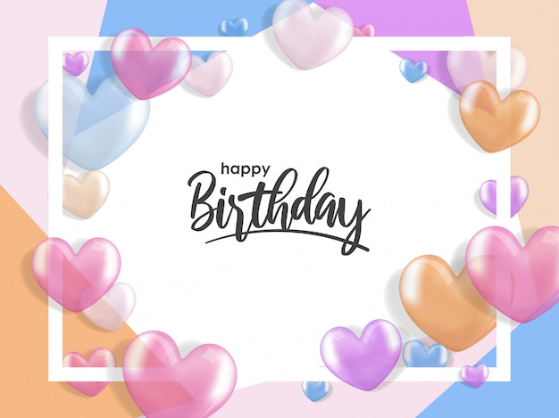 Geburtstagsgrüße mit realistischem ballon des herzens 3d