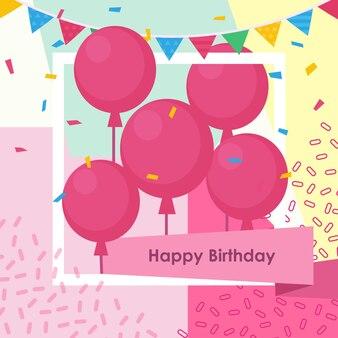 Geburtstagsgruß mit dem ballon- und memphisart