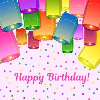 Geburtstagsgrußkarte mit himmellaternen