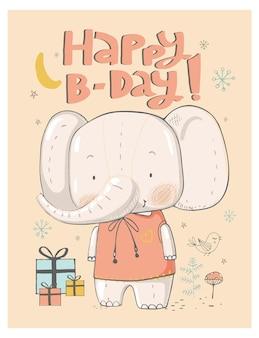 Geburtstagsgrußkartendesign mit niedlicher gezeichneter vektorillustration des elefanten hand