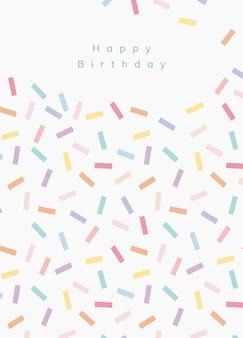 Geburtstagsgrußkartenschablone mit konfetti besprühen hintergrund