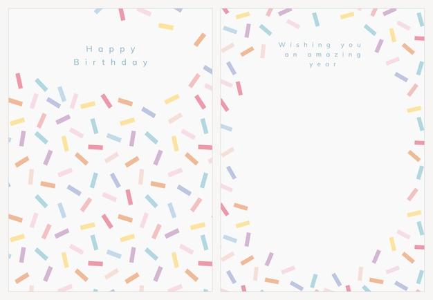 Geburtstagsgrußkartenschablonenvektor mit konfetti besprühen satz