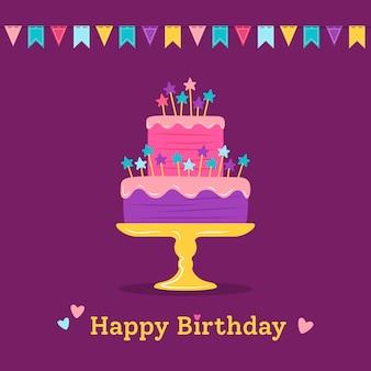 Geburtstagsgrußpostkarte, karikaturkuchen mit sternen und fahnen. party design element und schokolade. flaches buntes dessert. weihnachtsfeier süßigkeiten kuchen. illustration isoliert auf dunklem hintergrund