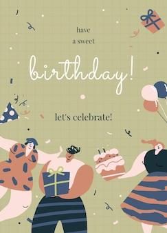 Geburtstagsgrußschablonenvektor mit feiernden charakteren
