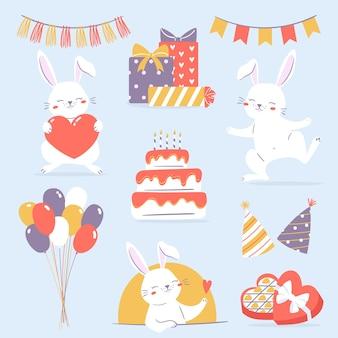 Geburtstagshasen-clipart-set sammlung von illustrationen mit weißen kaninchenballons präsentiert kuchen