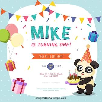 Geburtstagshintergrund mit einem panda