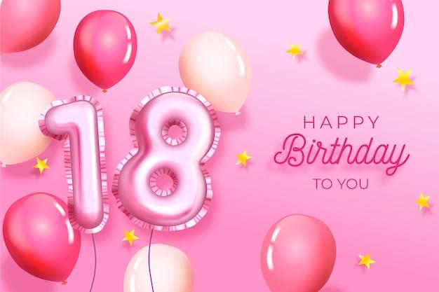 Geburtstagshintergrund mit realistischen luftballons