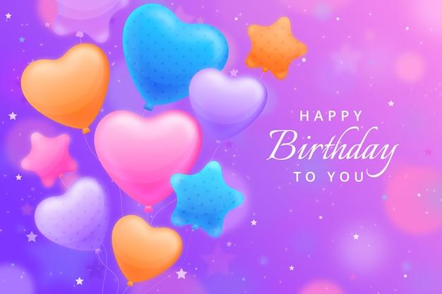 Geburtstagshintergrund mit verschiedenen ballons