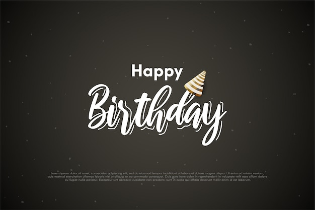 Geburtstagshintergrund mit weißer schrift und goldenem geburtstagshut.