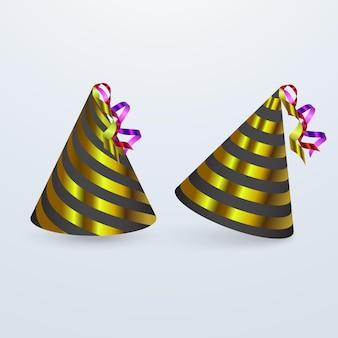 Geburtstagshut gesetzt. partyhut stellte isolierte spaßdekoration ein. buntes überraschungskostüm