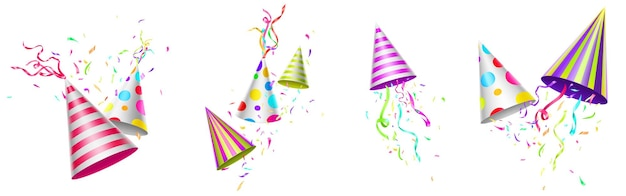 Geburtstagskappen mit bunten bändern und konfetti
