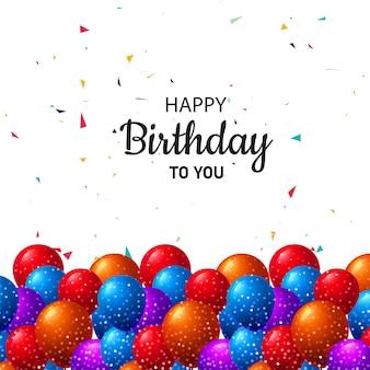 Geburtstagskarte mit ballonfeierhintergrund