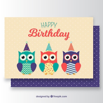 Geburtstagskarte mit drei farbigen eulen