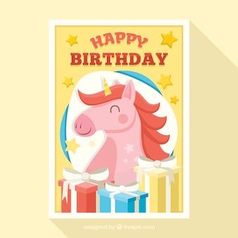 Geburtstagskarte mit einem glücklichen einhorn