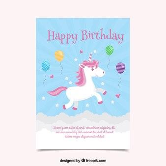 Geburtstagskarte mit einhorn und ballons