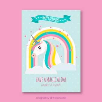 Geburtstagskarte mit einhorn und regenbogen