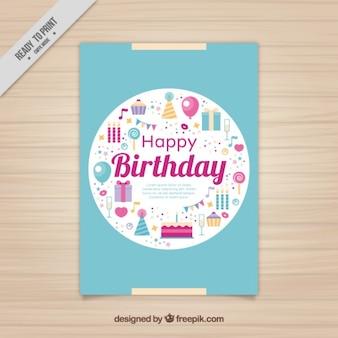 Geburtstagskarte mit flachen elementen