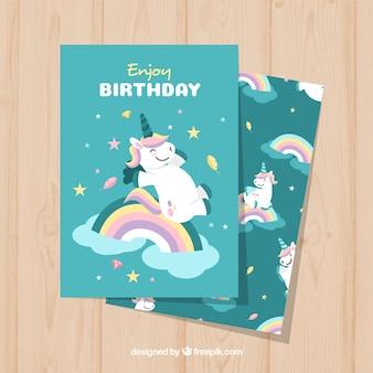 Geburtstagskarte mit glücklichem einhorn
