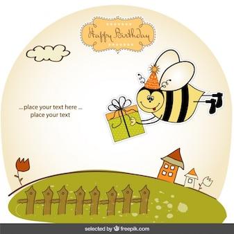 Geburtstagskarte mit lustige biene