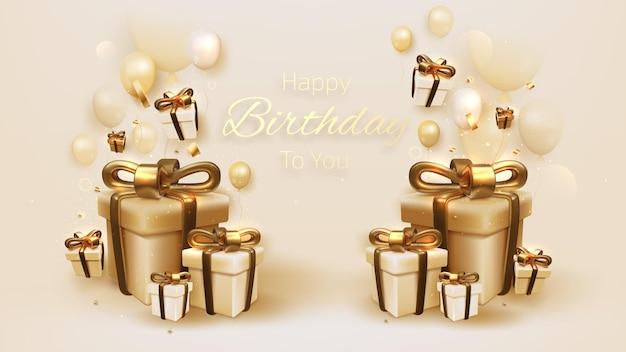 Geburtstagskarte mit luxusballons und band, geschenkbox 3d-stil realistisch auf cremefarbenem hintergrund. vektorillustration für design.