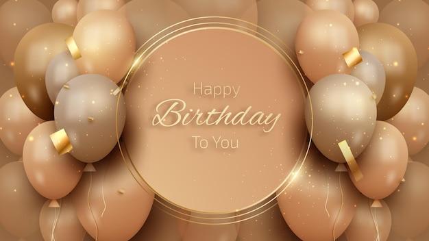 Geburtstagskarte mit luxusballons und goldband. 3d realistischer stil. vektorillustration für design.