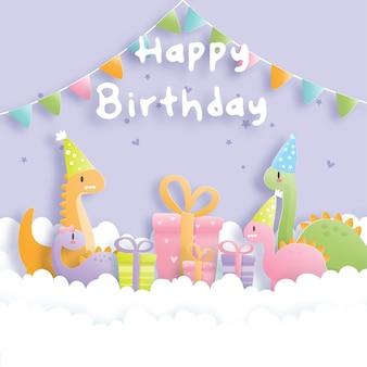 Geburtstagskarte mit niedlichem dinosaurier und geschenkboxen.