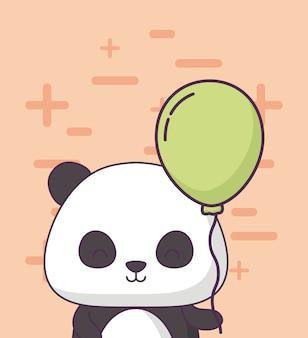 Geburtstagskarte mit niedlichen bär panda kawaii charakter