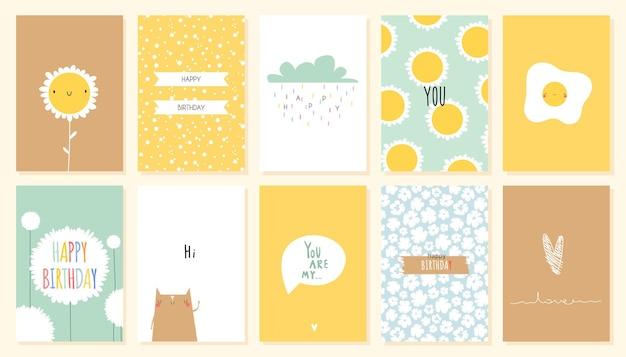 Geburtstagskarte mit niedlichen blumen und tieren im trendigen kindlichen druck des flachen stils für kinderzimmer im skandinavischen stil