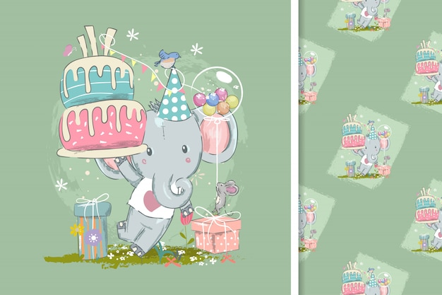 Geburtstagskarte mit niedlichen elefanten und nahtlose muster