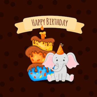 Geburtstagskarte mit süßem elefanten. cartoon-stil. vektor-illustration.