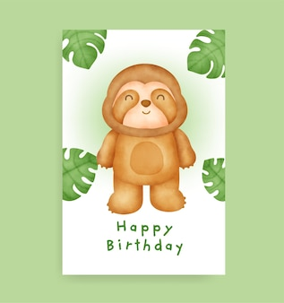 Geburtstagskarte mit süßem faultier im aquarell-stil