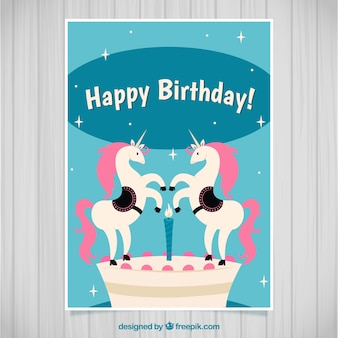 Geburtstagskarte mit zwei einhörnern