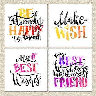 Geburtstagskarten. verschiedene wörter über geburtstag auf weißem hintergrund.