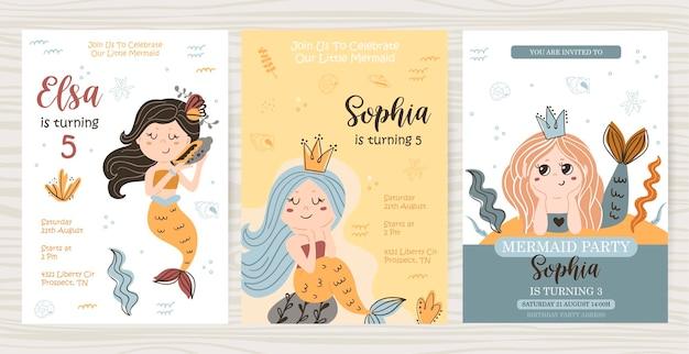 Geburtstagskartenvorlage mit meerjungfrauen