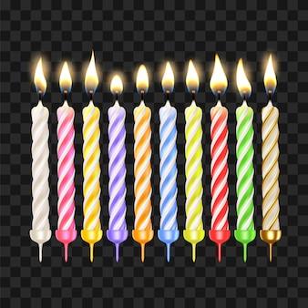 Geburtstagskerzen in verschiedenen farben eingestellt