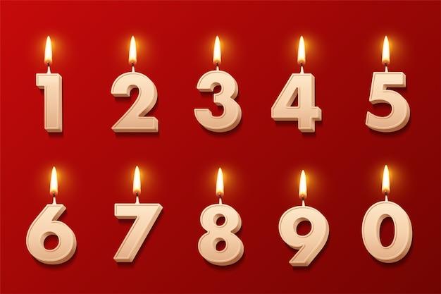 Geburtstagskerzen mit brennenden flammen lokalisiert auf rotem hintergrund.