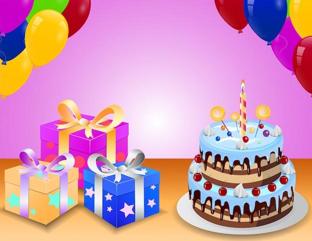 Geburtstagskuchen mit farbenfrohem ballon und überraschungskasten