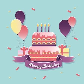 Geburtstagskuchen und ballons