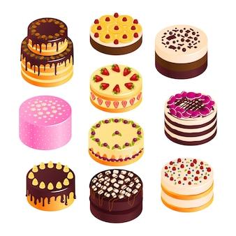 Geburtstagskuchenikonen eingestellt mit isometrischem isometrischem schokoladen- und fruchtkuchen