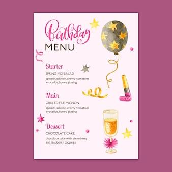 Geburtstagsmenüvorlage mit gezeichneten elementen